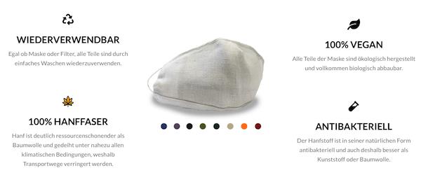 Nachhaltige Masken als Alternative gegen Maskenmüll: 100% nachhaltige Hanfmasken