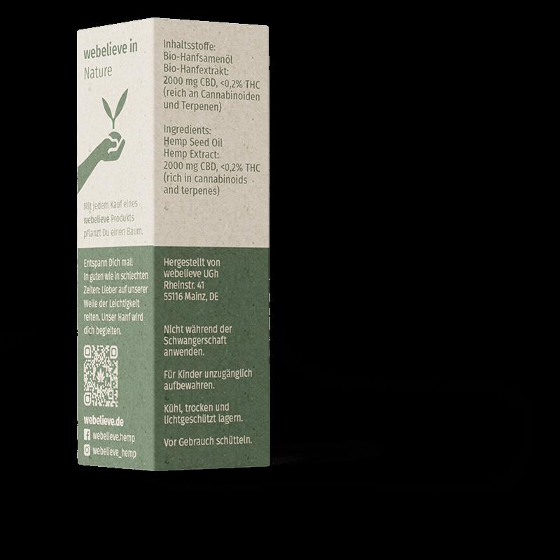 Unser CBD Öl 20% mit Bio Hanföl - jedes Öl pflanzt einen Baum. Reich an Terpenen und Flavinoiden, top Qualität mit 200mg CBD